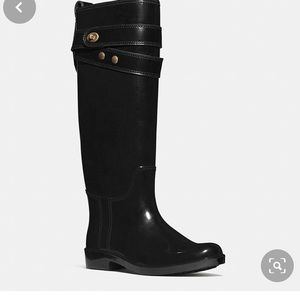 COACH TALL  BLACK RAIN BOOTS SZ 8